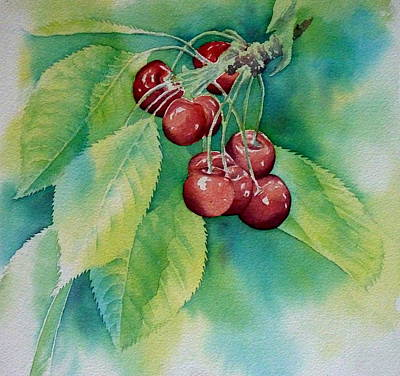 Baum Wall Art - Painting - First Cherries by Thomas Habermann