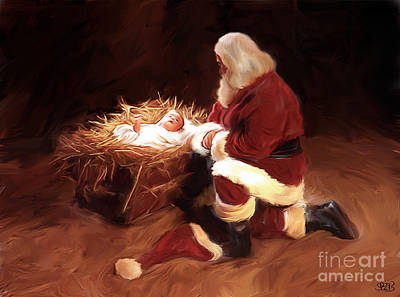 Smiling Jesus Painting - First Christmas by Mark Spears