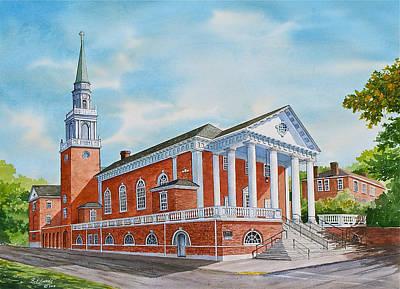 Methodists Painting - First Church Of Charlottesville by Raymond Edmonds