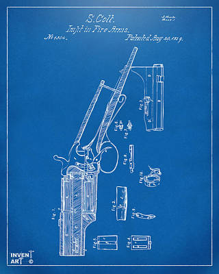 Drawing - 1839 Colt Revolver Patent Artwork Blueprint by Nikki Marie Smith