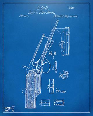 1839 Colt Revolver Patent Artwork Blueprint Print by Nikki Marie Smith
