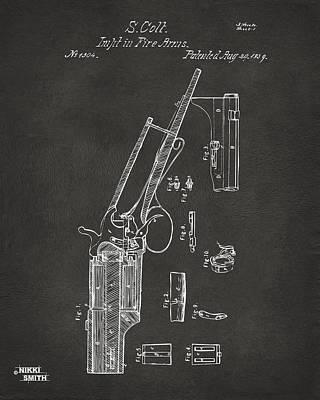 Digital Art - 1839 Colt Revolver Patent Artwork - Gray by Nikki Marie Smith