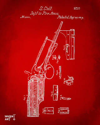 Drawing - 1839 Colt Revolver Patent Artwork Red by Nikki Marie Smith