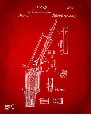 1839 Colt Revolver Patent Artwork Red Art Print