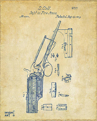 Drawing - 1839 Colt Revolver Patent Artwork Vintage by Nikki Marie Smith