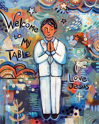 First Communion Boy Original by Jen Norton