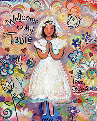 Floral Wall Art Painting - First Communion Girl by Jen Norton