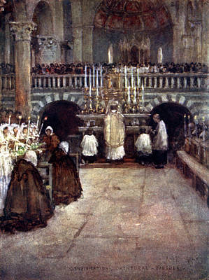 Communion Drawing - First Communion Of The  Children by Mary Evans Picture Library