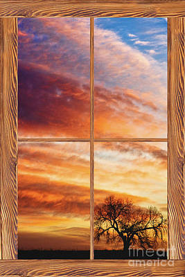 Window Photograph - First Dawn Barn Wood Picture Window Frame View by James BO  Insogna