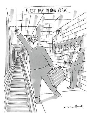 First Drawing - First Day In New York -- A Man On A Subway by Michael Crawford