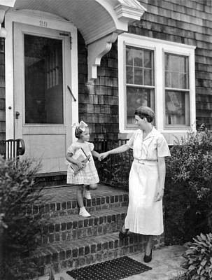 Mother And Daughter Photograph - First Day Of School by Underwood Archives