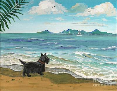 Scotty Dog Painting - First Day Of Vacation by Margaryta Yermolayeva