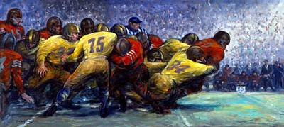 Cleveland Browns Football Painting - First Down by Clyde Singer