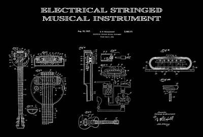 Acoustic Guitar Digital Art - First Electric Guitar 2 Patent Art  1937 by Daniel Hagerman
