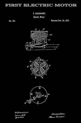 First Electric Motor 2 Patent Art 1837 Art Print by Daniel Hagerman