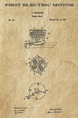 First Electric Motor 3 Patent Art 1837 Art Print