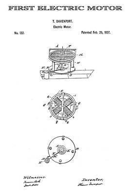 First Electric Motor Patent Art 1837 Art Print by Daniel Hagerman