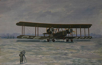Print featuring the painting First England-australia Flight 1919 by Murray McLeod