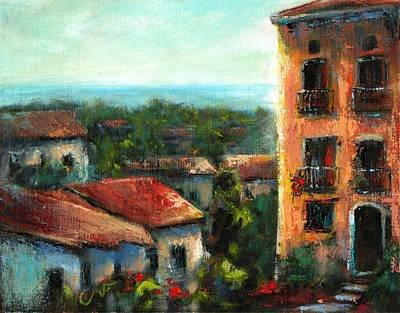 First Evening In Scalea Italy Art Print by Sharon Abbott-Furze
