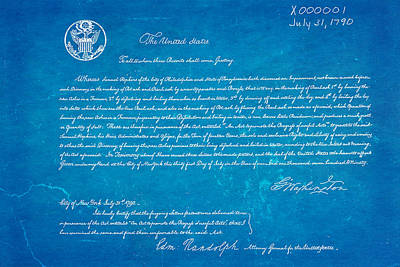 First Ever Us Patent For Potash Patent Art 1790 Blueprint Print by Ian Monk