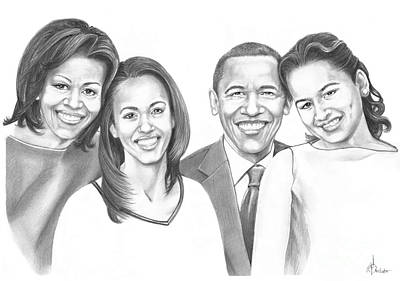 Barrack Obama Drawing - First-family 2013 by Murphy Elliott