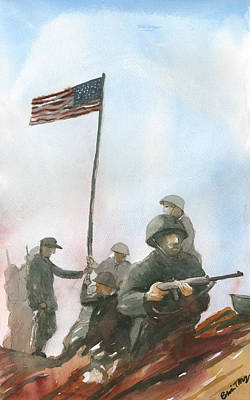 Painting - First Flag Over Iwo Jima by Brian Meyer