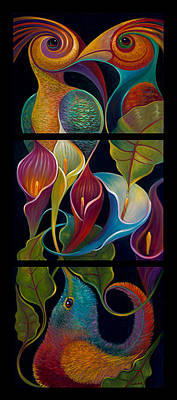 Painting - First Flight - Triptych by Claudia Goodell
