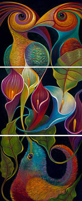 Painting - First Flight Triptych For Metal Prints by Claudia Goodell