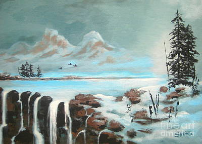 Snow Geese Painting - First  Freeze  by Shasta Eone