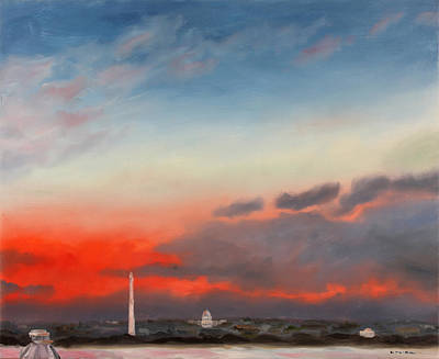 Lincoln Memorial Painting - Inaugural Sunrise From Lee - Custis Mansion by William Van Doren