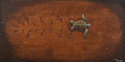 Hawaii Sea Turtle Painting - First Journey by Emily Brantley