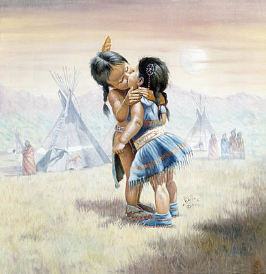 Indian Fine Art Painting - First Kiss by Gregory Perillo