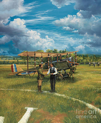 Helicopters Painting - First Landing At Shepherd's Field by Randy Green