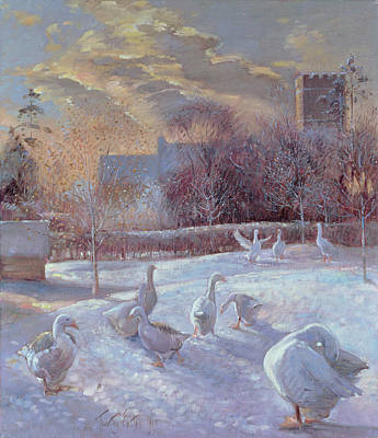 Swans... Painting - First Light by Timothy Easton