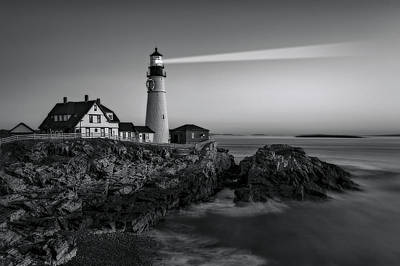 Oceanside Photograph - First Light At Portland Head Light Bw by Susan Candelario