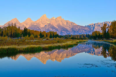 Photograph - First Light At Schwabacher Landing by Greg Norrell