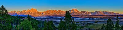 First Light On The Tetons Art Print