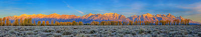 Photograph - First Light On The Tetons Limited Edition Panorama by Greg Norrell