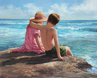 Sisters Painting - First Love By The Seashore by Laurie Hein