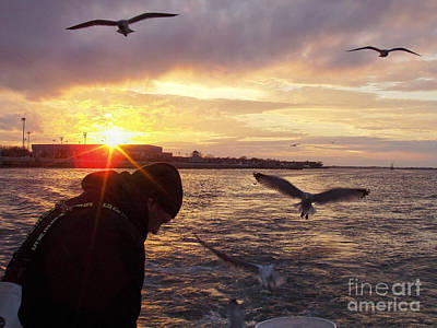 Photograph - First Mate Filleting Fish With Seagulls Watching by John Telfer