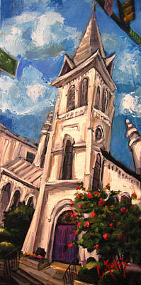 Downtown Huntsville Painting - First Methodist Huntsville 2 by Carole Foret