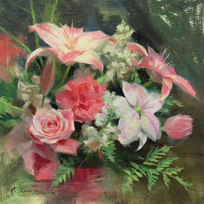 Pink Flowers Painting - First Mother's Day by Anna Rose Bain