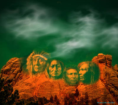 First Nations Chiefs In Mount Rushmore Art Print
