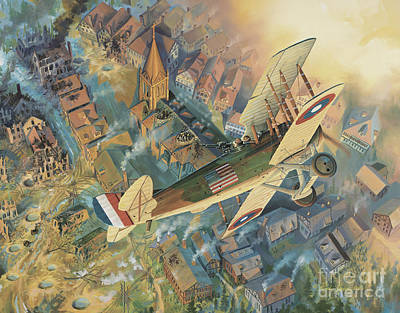 Military Aviation Art Painting - First Over The Front by Randy Green