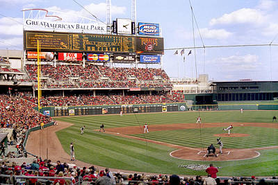 Photograph - First Pitch At Great American Ballpark by Scott Meyer