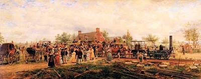 First Railroad Train On The Mohawk And Hudson Art Print by Edward Henry