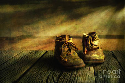 Old Wood Photograph - First Shoes by Veikko Suikkanen