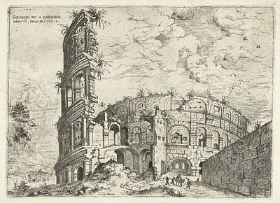 Sight Drawing - First Sight Of The Colosseum In Rome, Italy by Artokoloro