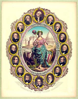 Phrygian Photograph - First Sixteen Usa Presidents 1861 by Padre Art