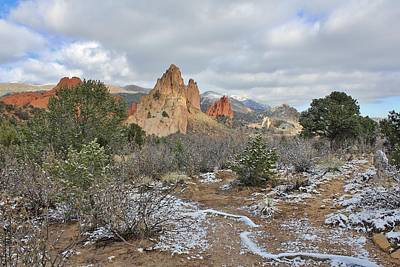 First Snow At Garden Of The Gods Art Print by Diane Alexander